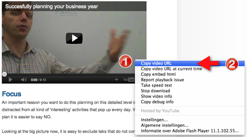 copy YouTube video URL